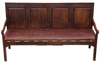 Antique Georgian 18C rare quality Gothic oak settle hall seat bench sofa