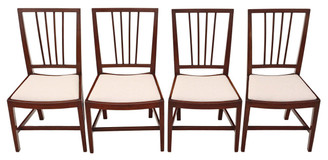 Antique rare set of 4 mahogany Georgian dining chairs C1810