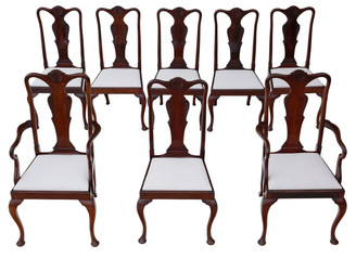 Antique set of 8 (6 + 2) mahogany Queen Anne dining chairs JAS Shoolbred