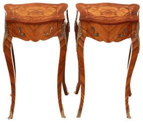 Antique pair French kingwood marquetry bedside tables cupboards cabinets