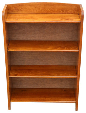 Antique small adjustable beech bookcase display shelves C1920