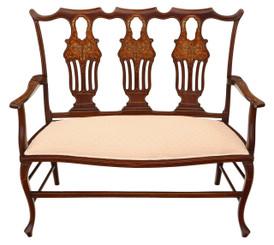 Antique quality Edwardian inlaid mahogany small sofa chaise longue