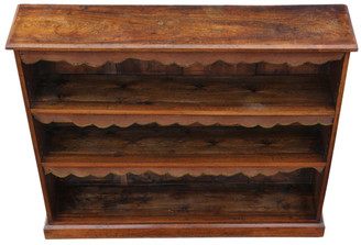 Antique Victorian walnut bookcase display adjustable shelves