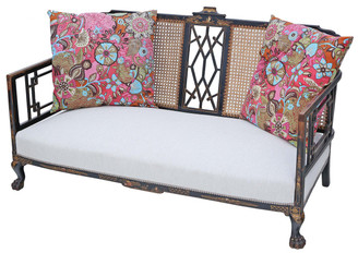 Antique quality C1900 Chinoiserie sofa settee chaise longue bergere