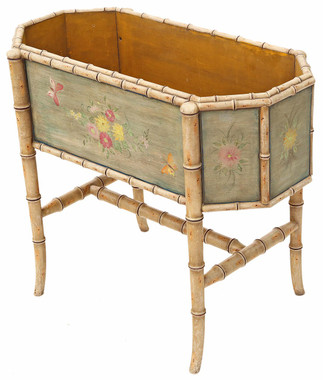 Antique painted floral decorated planter plant stand jardiniere C1920