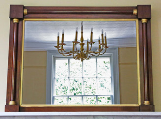 Antique C1825 Regency gilt and mahogany overmantle wall mirror