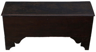 Antique Georgian 18C 6 plank oak mule chest coffer blanket box coffee table