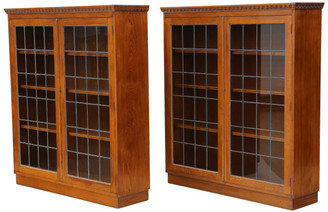 Antique quality pair of large glazed oak bookcases display cabinets C1930