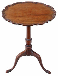 Antique quality 19C mahogany tilt top piecrust supper wine table side