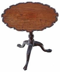 Antique quality 19C mahogany bird cage tilt top piecrust supper wine table