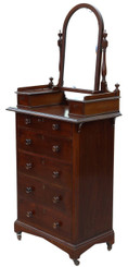 Antique slim Victorian C1890 quality mahogany dressing chest table