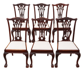 Antique quality set of 6 mahogany Chippendale revival dining chairs C1910