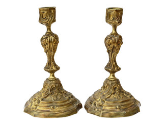 Antique pair of ormolu (gold on brass/bronze) candlesticks C1900