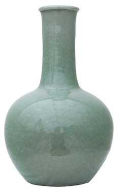 Antique large quality Celadon green bottle vase Thailand