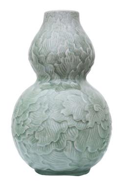 Antique large quality Celadon double gourd green vase Thailand