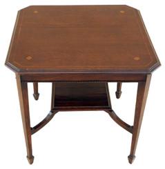 Antique Edwardian inlaid oak centre window table