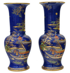 Antique quality pair of Art Deco Carlton Ware vases Chinoiserie Rouleau