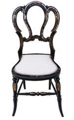Antique rare Victorian C1890 mother of pearl inlaid bedroom side chair
