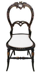 Antique rare Victorian C1890 mother of pearl inlaid bedroom chair side