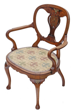 Antique quality brass inlaid rosewood elbow desk chair carver