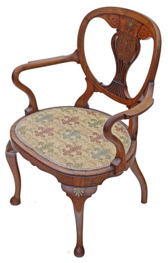 Antique quality brass inlaid rosewood elbow chair desk carver