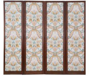 Antique large Victorian C1880-1900 oak dressing screen room divider