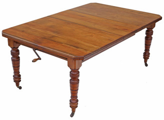Antique Victorian C1900 light walnut windout extending dining table 6' x 4'