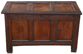 Antique Georgian 18C carved oak mule chest coffer blanket box coffee table