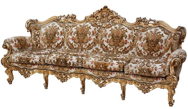 Antique large quality French giltwood sofa settee chaise longue