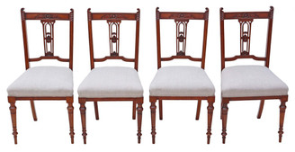 Antique quality set of 4 Victorian C1900 carved walnut dining chairs