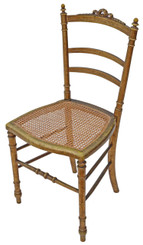Antique rare Victorian C1900 gilt cane inlaid bedroom side hall chair