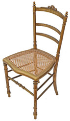 Antique rare Victorian gilt cane inlaid bedroom side hall chair C1900