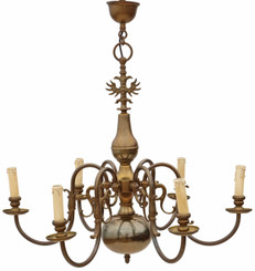 Antique 6 lamp brass Flemish chandelier FREE DELIVERY