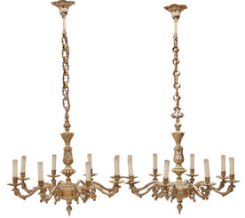 Antique pair of 8 lamp brass ormolu chandeliers FREE DELIVERY