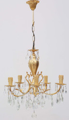 Antique French 5 lamp ormolu brass crystal chandelier FREE DELIVERY