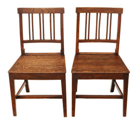 Antique pair of elm & oak 18th Century kitchen dining chairs hall bedroom