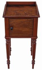 Antique Victorian C1880 mahogany bedside table cupboard cabinet