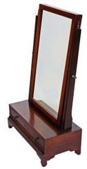 Antique quality Georgian C1800 mahogany dressing table swing mirror toilet