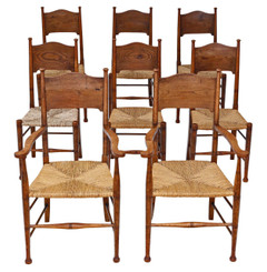 Antique quality set of 8 (6 + 2) oak and elm Arts & Crafts dining chairs