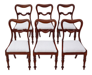 Antique quality set of 6 Victorian mahogany balloon back dining chairs