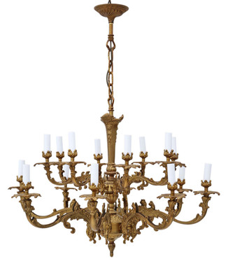 Antique 16 lamp ormolu brass chandelier heavy