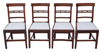 Antique set of 4 elm 19th Century East Anglian dining chairs