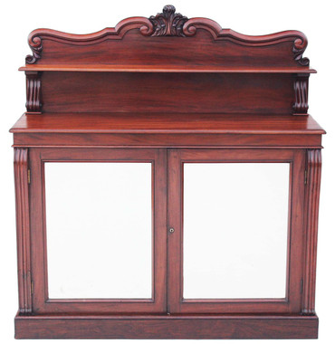 Antique 19C Regency William IV mahogany chiffonier sideboard