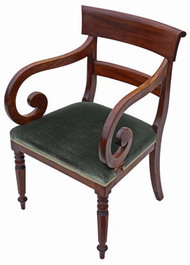 Antique 19th Century scroll arm mahogany office elbow desk chair carver