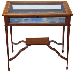Antique Edwardian C1905 inlaid mahogany bijouterie display table