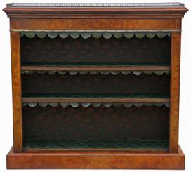 Antique inlaid burr walnut bookcase display adjustable shelves