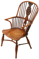 Antique early 19C yew & elm Windsor armchair chair hall side dining carver