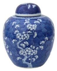 Antique blue & white Chinese Oriental ceramic ginger jar with lid
