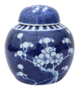 Antique blue & white Oriental Chinese ceramic ginger jar with lid