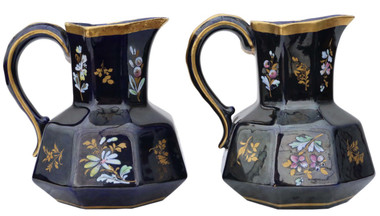 Antique pair of blue gilded and decorated ceramic jugs